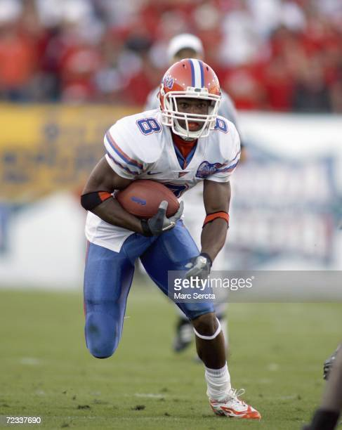 Percy Harvin of the Florida Gators carries the ball during the game against the Georgia Bulldogs on October 28 2006 at Alltel Stadium in Jacksonville...
