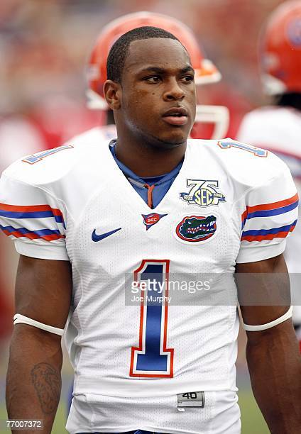 Percy Harvin of the Florida Gators looks on in a game against the Mississippi Rebels on September 22 2007 at VaughtHemingway Stadium/Hollingsworth...