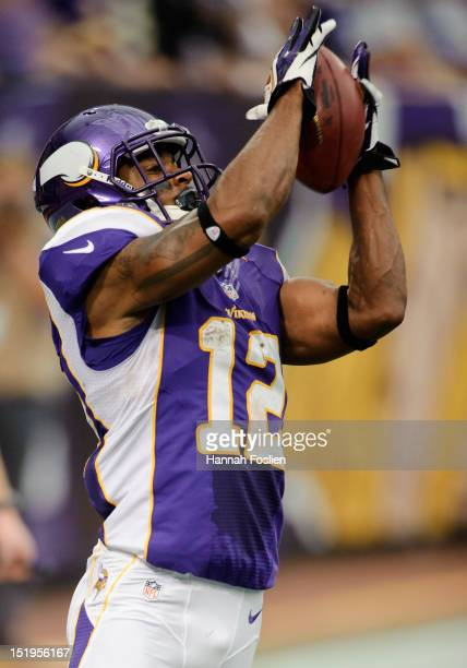 Percy Harvin of the Minnesota Vikings catches the ball during the season opener against the Jacksonville Jaguars on September 9 2012 at Mall of...