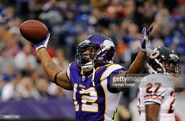 Percy Harvin of the Minnesota Vikings celebrates a touchdown during the first quarter against the Chicago Bears on January 1 2012 at Mall of America...