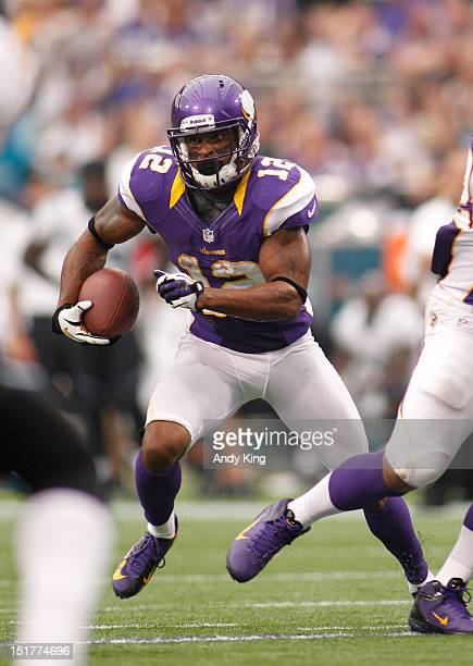 Percy Harvin of the Minnesota Vikings during opening day against Jacksonville Jaguars on September 9 2012 at Mall of America Field at the Hubert H...