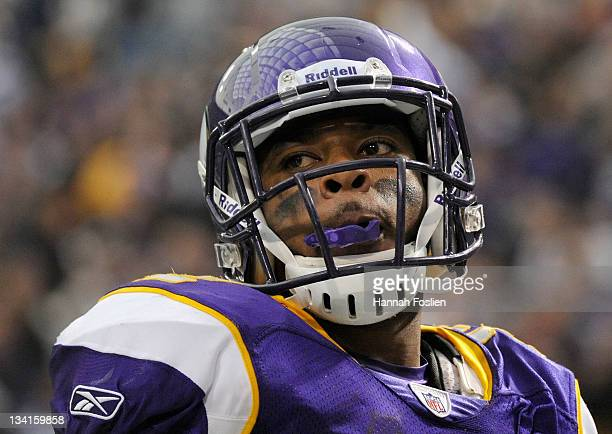 Percy Harvin of the Minnesota Vikings looks on during the game against the Oakland Raiders on November 20 2011 at Hubert H Humphrey Metrodome in...