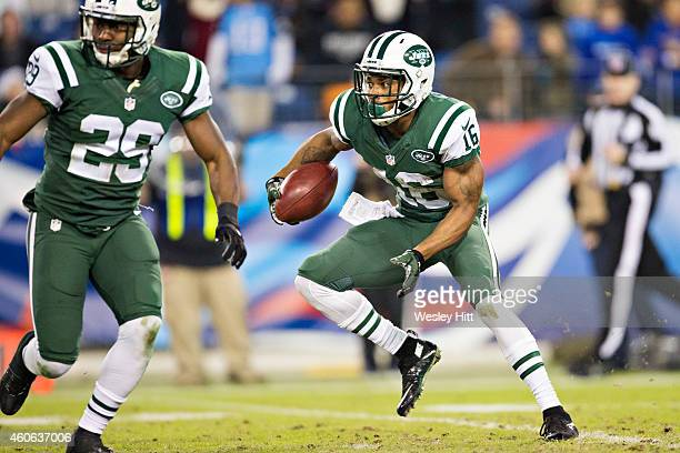 Percy Harvin of the New York Jets jokes runs the ball in the fourth quarter of a game against the Tennessee Titans at LP Field on December 14 2014 in...