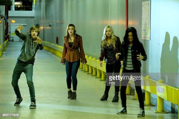 Percy Hynes White guest star Elena Satine Natalie Alyn Lind and Jamie Chung in the 'outfoX' episode of THE GIFTED airing Monday Dec 4 on FOX