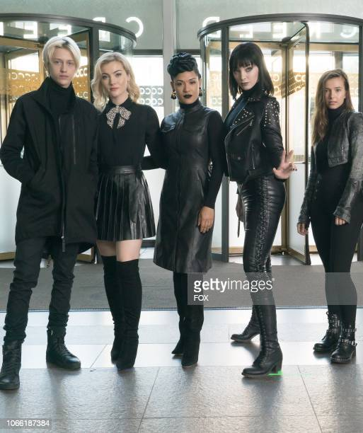 Percy Hynes White Skyler Samuels Grace Byers Emma Dumont and guest star Angelica Bette Fellini behind the scenes in the no Mercy episode of THE...