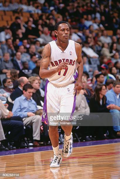 Percy Miller of the Toronto Raptors runs on defense against the Los Angeles Clippers on October 15 1999 at the Air Canada Centre in Toronto Ontario...