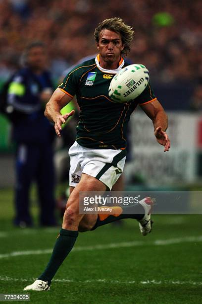 Percy Montgomery of South Africa in action during the Rugby Word Cup Semi Final between South Africa and Argentina at the Stade de France on October...