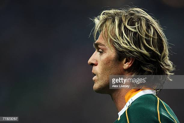 Percy Montgomery of South Africa looks on during the Rugby Word Cup Semi Final between South Africa and Argentina at the Stade de France on October...