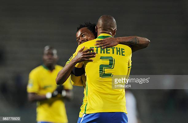 Percy Tau celebrates his goal with Thabo Nthethe of Sundowns during the CAF2016 Champions league match between Zamalek and Mamelodi Sundown at Lucas...