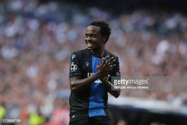 Percy Tau of Brugge in action during the UEFA Champions League group A match between Real Madrid and Club Brugge KV at Bernabeu on October 01, 2019...