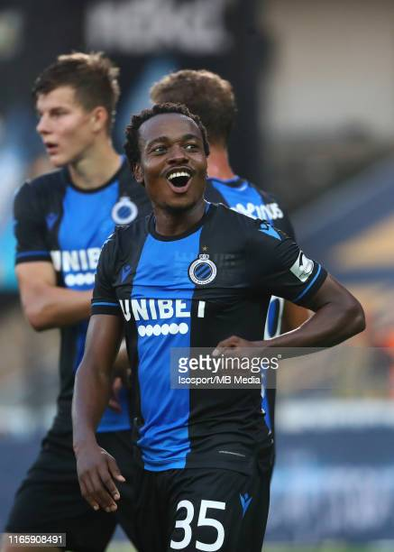 Percy Tau of Club Brugge celebrates after scoring a goal during the Jupiler Pro League match between Club Brugge KV and Sint-Truidense VV at Jan...