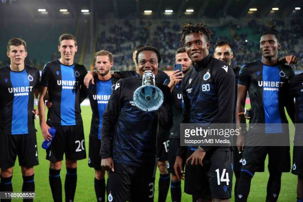 Percy Tau of Club Brugge celebrates with David Okereke of Club Brugge after winning the Jupiler Pro League match between Club Brugge KV and...