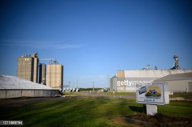 Perdue poultry and chicken farm is seen in Bridgeville, Delaware on May 2, 2020. - Coronavirus cases have recently spiked in the poultry farms and...