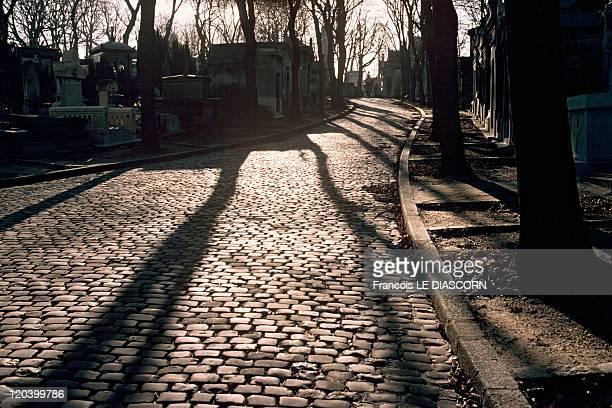 Pere Lachaise Cemetery in Paris France Entrance of the Pere Lachaise cemetery near the Almond Trees Gate
