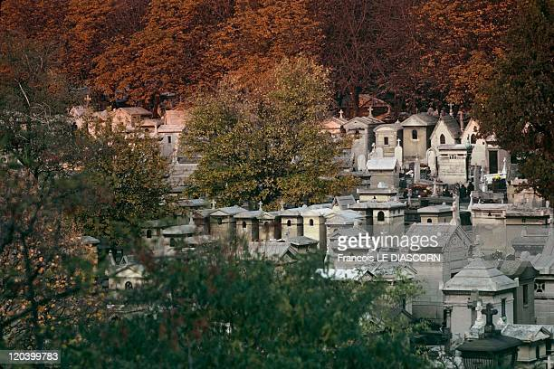 Pere Lachaise Cemetery in Paris France General view of the Pere Lachaise cemetery seen by the west side
