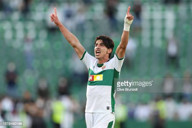 Pere Milla of Elche CF celebrating on full time as his team successfully avoid relegation during the La Liga Santander match between Elche CF and...