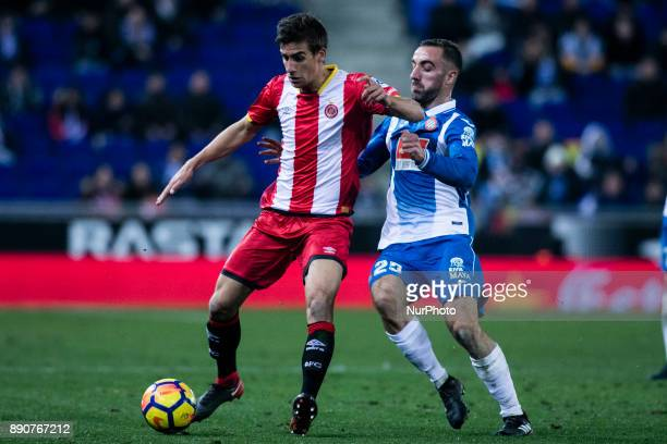 08 Pere Pons from Spain of Girona FC against 25 Darder from Spain of RCD Espanyol during the La Liga match between RCD Espanyol v Girona FC at RCD...