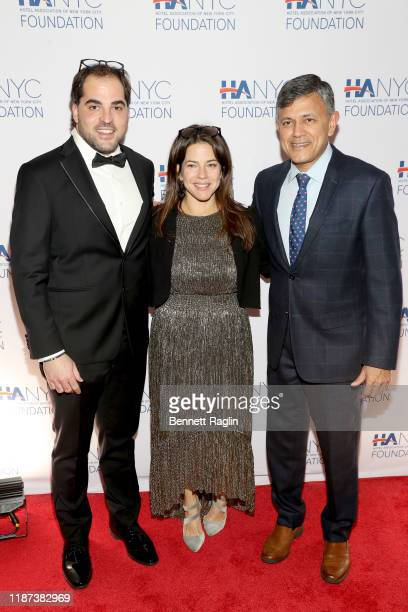 Pere Sanchez Frigola Phoebe Knowles and Vijay Dandapani attend The Red Carpet Hospitality Gala Hosted by the Hotel Association Of New York City...