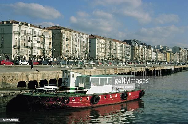 Pereda Avenue Santander Cantabria Panoramic view of the maritime avenue near to the port In foreground a boat of passenger transport