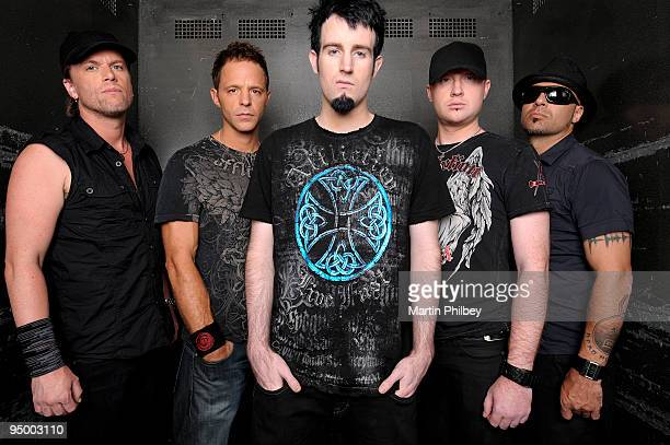 Peredur ap Gwynedd Ben 'The Verse' Mount Rob Swire Gareth McGrillen and Paul Kodish of Pendulum pose for a group portrait at the Marriott Hotel on...