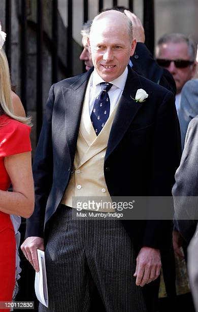 Peregrine Armstrong Jones attends the wedding of Zara Phillips and Mike Tindall at Canongate Kirk on July 30 2011 in Edinburgh Scotland The Queen's...