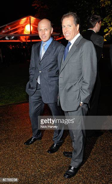 Peregrine ArmstrongJones and Viscount Linley attend the summer party at The Serpentine Gallery on September 9 2008 in London England