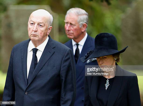 Peregrine Cavendish Duke of Devonshire Prince Charles Prince of Wales and Amanda Cavendish Duchess of Devonshire attend the funeral of Deborah...