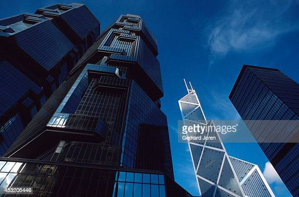 Peregrine Tower in front with the Bank of China Tower behind it in Central Hong Kong The 70 story Bank of China Tower was designed by IM Pei