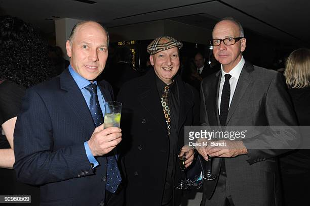 Pereguin Armstrong Jones Stephen Jones and Richard James attend the London Evening Standard Influentials Party at Burberry on November 10 2009 in...
