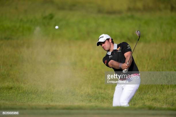 Perello of the Dominican Republic hits from a bunker on the 15th hole during the second round of the PGA TOUR Latinoamerica Puerto Plata DR Open at...
