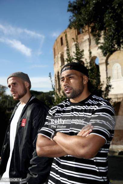 Perenara and Ngani Laumape of the New Zealand All Blacks look on as several of the team visit the Colosseum on November 21 2018 in Rome Italy