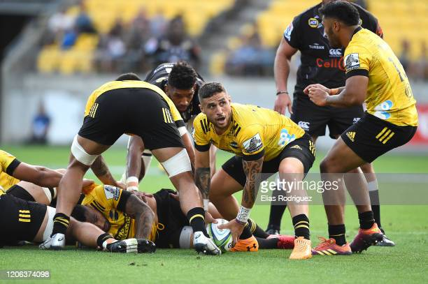 Perenara captain of the Hurricanes looks to pass during the round 3 Super Rugby match between the Hurricanes and the Sharks at Westpac Stadium on...