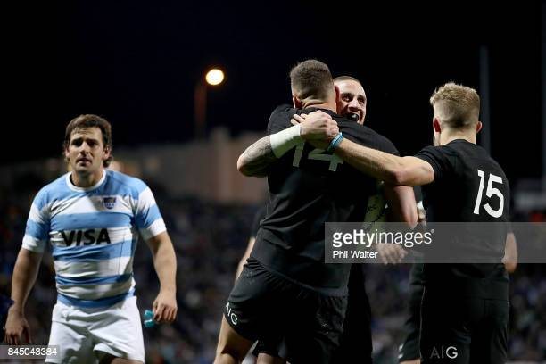 Perenara congratulated Israel Dagg of the All Blacks on his try during The Rugby Championship match between the New Zealand All Blacks and Argentina...