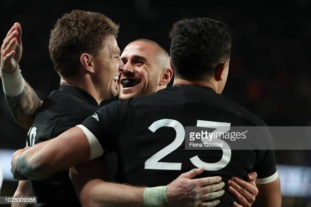 Perenara congratulates Beauden Barrett of the All Blacks during The Rugby Championship game between the New Zealand All Blacks and the Australia...