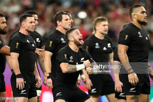 Perenara of New Zealand leads the Haka prior to the Rugby World Cup 2019 Group B game between New Zealand and Canada at Oita Stadium on October 02,...
