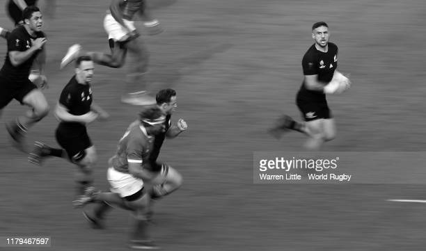 Perenara of New Zealand makes a break to score his side's eleventh try during the Rugby World Cup 2019 Group B game between New Zealand and Namibia...