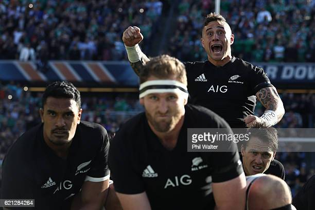 Perenara of New Zealand performs the Haka prior to kickoff during the international match between Ireland and New Zealand at Soldier Field on...