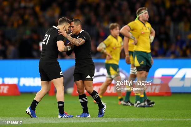 Perenara of the All Blacks and Aaron Smith of the All Blacks exchange a hongi as they substitute each other during the 2019 Rugby Championship Test...