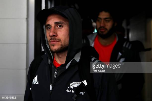 Perenara of the All Blacks arrives for the New Zealand All Blacks captain's run at Yarrow Stadium on September 8 2017 in New Plymouth New Zealand