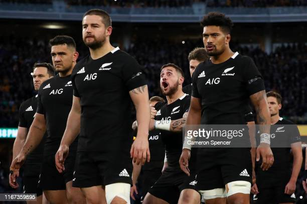 Perenara of the All Blacks leads the Haka during the 2019 Rugby Championship Test Match between the Australian Wallabies and the New Zealand All...
