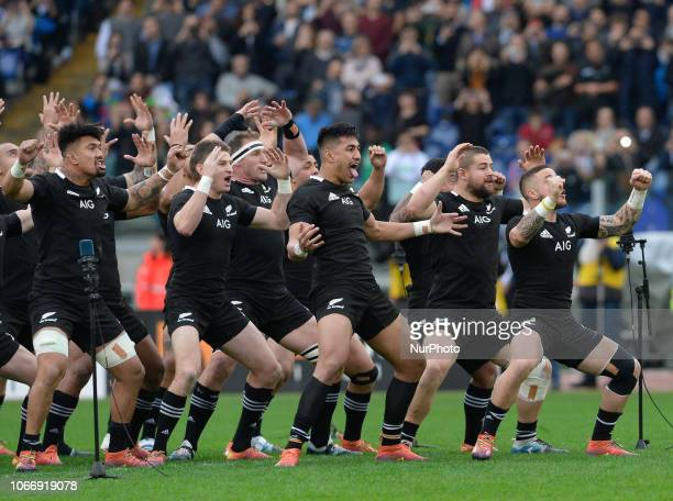 TJ Perenara of the All Blacks leads the haka during the International Rugby match between the New Zealand All Blacks and Italy at Stadio Olimpico on...