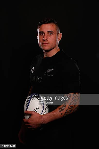 Perenara of the All Blacks poses for a portrait during a New Zealand All Blacks portrait session at the George Hotel on July 10 2015 in Christchurch...
