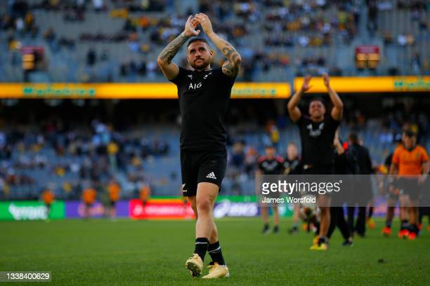 Perenara of the All Blacks reacts towards the crowd after the win during the Bledisloe Cup match between the Australian Wallabies and the New Zealand...