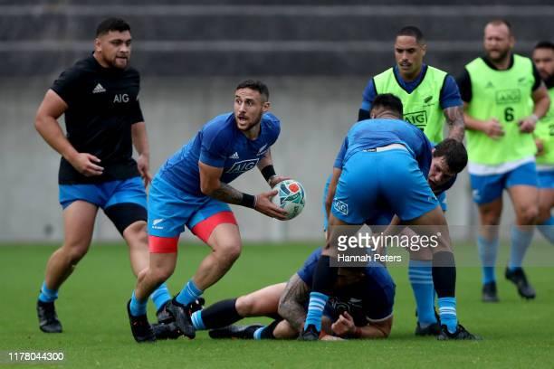 Perenara of the All Blacks runs through drills during a New Zealand training session at Jissoji Tamokuteki Ground on September 30, 2019 in Beppu,...
