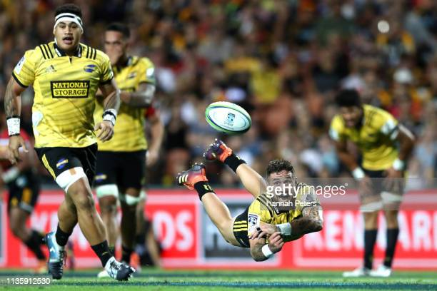 Perenara of the Hurricanes passes the ball during the round five Super Rugby match between the Chiefs and the Hurricanes at FMG Stadium Waikato on...