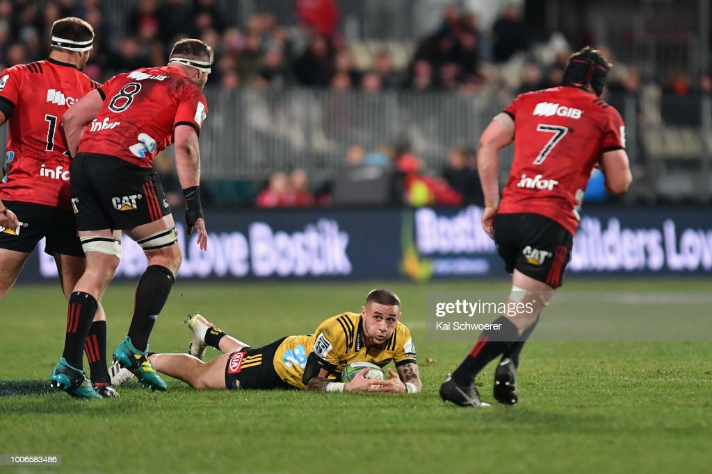 TJ Perenara of the Hurricanes reacts during the Super Rugby Semi Final match between the Crusaders and the Hurricanes at AMI Stadium on July 28, 2018 in Christchurch, New Zealand.