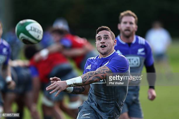 Perenara of the New Zealand All Blacks passes during a training session at the Westmanstown Sports Complex on November 17 2016 in Dublin Ireland