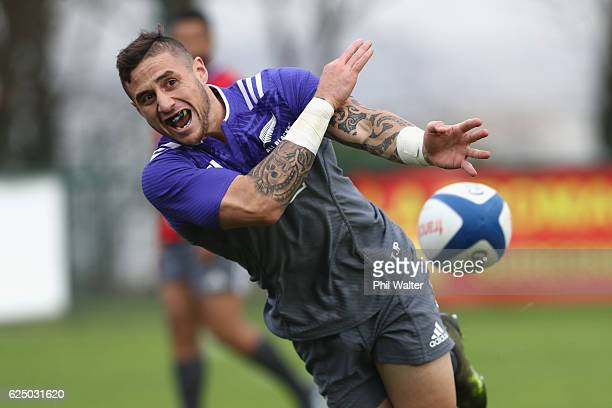 Perenara of the New Zealand All Blacks passes during training at the Suresnes Rugby Club on November 22 2016 in Paris France