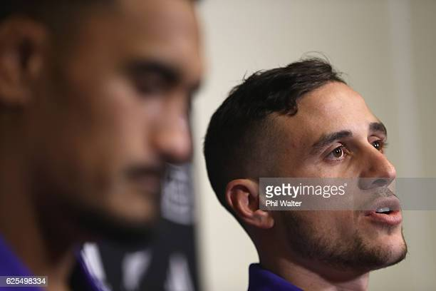 Perenara of the New Zealand All Blacks speaks alongside Jerome Kaino during a press conference at the Movenpick Hotel on November 24 2016 in Paris...