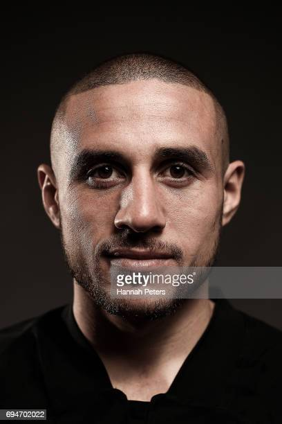TJ Perenara poses for a portrait during the New Zealand All Blacks Headshots Session on June 11 2017 in Auckland New Zealand